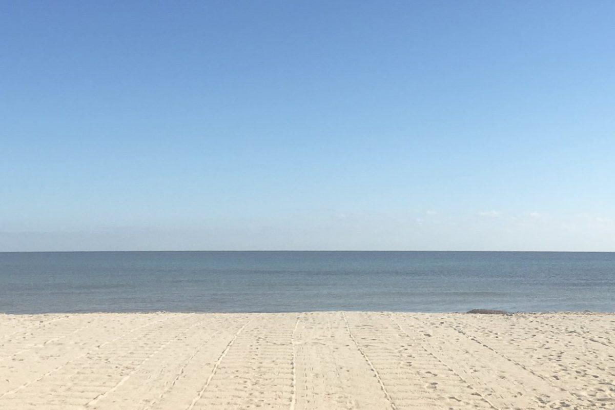 View of pristine white beach in France.